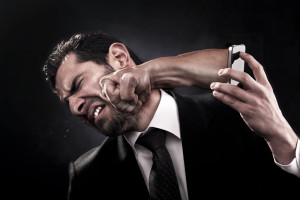 Employee gets punched through smart phone by angry client because of bad service, product, or bad behavior