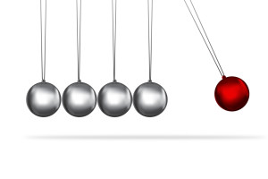 newtons cradle silver balls concept