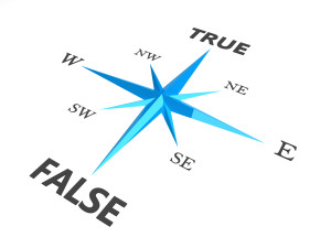 true versus false dilemma concept compass  isolated on white bac
