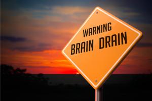 Brain Drain on Warning Road Sign.