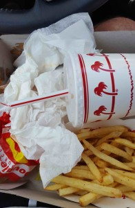 Remnants of our disappointing meal at In-N-Out